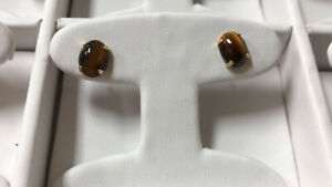 14k Gold Vintage Antique Genuine Tiger Eye Gemstone Women Earring Studs 🐅