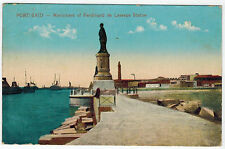 Monument to Ferdinand de Lesseps at Suez Channel, Port Said, Egypt, 1910s