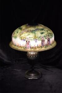 PAIRPOINT Lamp with Beautiful Reverse Painted Forest Scene Shade
