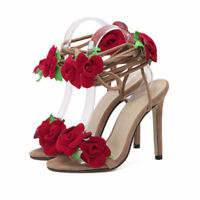 Womens Wedding Party Bridal Shoes Open Toe Red Roses Pump Platform High Heels