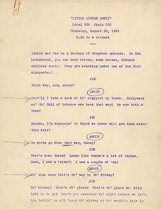1933 LITTLE ORPHAN ANNIE ORIGINAL RADIO SHOW SCRIPT RARE COMPLETE