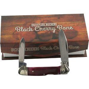 Rough Rider Black Cherry Double Lockback Pocket Knife RR1660 2 Folding Blades