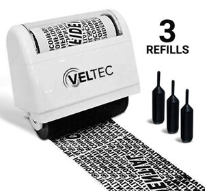 Veltec Identity Protection Anti-Theft Roller Guard Stamp w/ FREE 3 Pack Refills