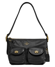 ❤️ Coach Nylon 3135 Black/Gold Vintage Rose Print Interior Cargo Shoulder Bag