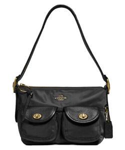 ❤️ Coach Nylon 3135 Black/Gold Vintage Rose Print Interior Cargo Shoulder Bag