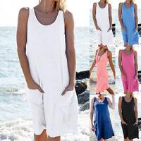 Plus Size Women's Cotton Summer Sleeveless Long T-Shirt Ladies Casual Sun Dress