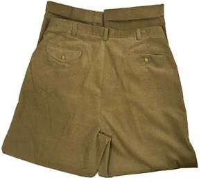 Ralph Lauren Polo Corduroy Pants Brown Cuffed Legs Pleated Front Size 36x30 Mens