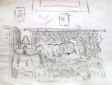 """Else Meidner 1901-1987 (zugeschr.) / Kohlezeichnung / """"Else b.d. Mittagsruhe"""""""