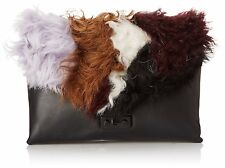 LOEFFLER RANDALL Lock Clutch Black Leather Dye Sheep Shearling Bag Handbag Purse