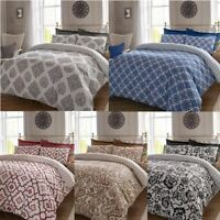 Damask Patchwork Paisley Duvet Cover Bedding Quilt Set Printed Reversible Grey