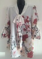 NEW Ladies Size 12/18 Floral Print Off White Bow Tie Up Chiffon Blouse Top