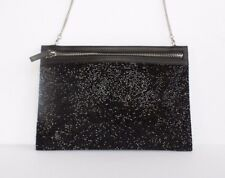 Swarovski Black Crystal Clutch Purse Bag Zipper Removable Chain Calfskin Leather