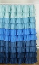 Ruffle Fabric Shower Curtain  Color Blue / Dark Blue