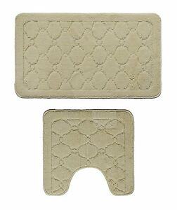 Microfiber 2 Pieces Bathroom Loyal Bath Rug Pedestal Mat Set Beige