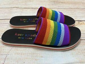 Kate Spade Rainbow Intarsia Knit Slide Sandals US Women's Size 9 NEW