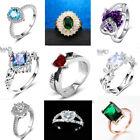 Fashion Jewelry Vintage Emerald Ring Wedding Engagement Blue Stone Ring Size6-10