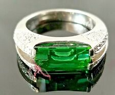 Modern 3.6TCW Fancy Cut Green Tourmaline Diamond Heavy Platinum ring