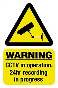 1 X CCTV in operation sticker sign - Self Adhesive or  Static Cling 100 mm High
