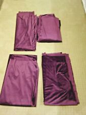 4 BURGUNDY PURPLE VELVET DRAPERY ROD POCKET PANELS