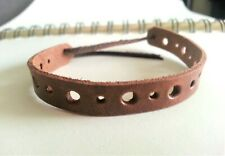 Bracelet Mens or Woman in Leather Surfer Wristband Die Cut Colour Chocolate