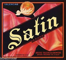 ORANGE CRATE LABEL SATIN FABRIC IRVINE VINTAGE FASHION FABRIC ORIGINAL 1940S
