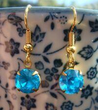 Gema Azul Agua Gota chapado en oro francés Gancho Pendientes totalmente nuevo hecho a mano