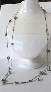 Chico's Necklace Silver Tone Chain Rhinestones Beads