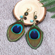 Exotic Peacock Feather Shaped Earrings Lady Colorful Flower Blue Stone Ear Clip