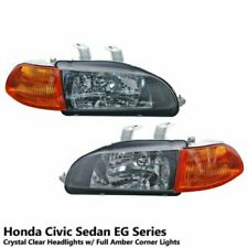 Diamond Cut Clear Lens Headlights+Amber Corner For Honda Civic Sedan EG8 EG9 EH9