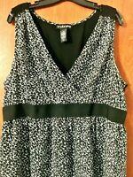 Lane Bryant Animal Print Dress Size 22 Sleeveless Black White Leopard Lined