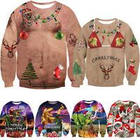3D Christmas Sweatshirt Men Funny Ugly Jumper Santa Claus Xmas Sweatshirts Women