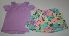 New Carter's 4 5 Year Girls 2 Piece Outfit Set Purple Top & Floral Skort Skirt