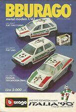 X1174 BBURAGO - FIAT Uno - FIAT Tipo - Ferrari Testarossa - Pubblicità 1989