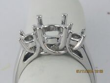 THREE STONE RING SETTING 14K WHITE GOLD FOR 2CT TW