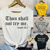 Basic Women T Shirt Print Tops Short Sleeve Shirts Summer Loose Plus Size UK