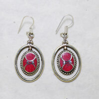 Asian Tribal  Ethnic sterling silver earrings  Coral jewelry Handmade Jewelry E6