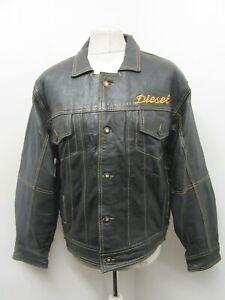 VINTAGE 80's DIESEL DISTRESSED LEATHER MOTORCYCLE TRUCKER JACKET SIZE L