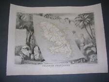 Martinique Carte géographique couleurs de la Martinique  A. LeVasseur 1850