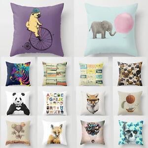 Cushion Pillow Cover Animal Fox Puppy Elephant Monkey Vintage Books 18'*18' Home
