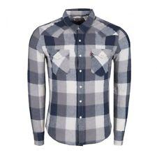 Levi's Men's Western Classic Fit Blue Linen Blend Long Sleeve Shirt M L XL