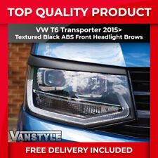 VW T6 TRANSPORTER 2015> FRONT HEADLIGHT BROWS EYELIDS EYEBROWS BLACK TRIM COVERS