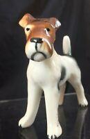 Vintage Airedale Terrier Ceramic Porcelain Figurine Black White Liver Handsome