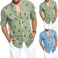 Summer Men Long Sleeve Casual Loose Linen T-shirt Dress Shirt Blouse Tops Tee