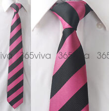 Deep Pink Black Stripe Men Neckwear Necktie 100% Woven Silk 8 cm Wedding Tie
