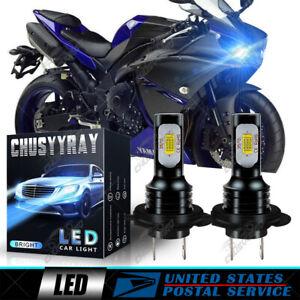 FOR Yamaha YZF R1 2007-14 YZF R3 2015-17 2X H7 LED Headlight High Low Beam Bulb