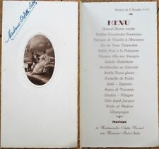 Menu: French 1931 Wedding w/Couple on Cover - Berland/Salot
