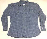 Vintage Wrangler Western Wear Shirt Mens XXL 2XL Pearl Snap Blue Plaid Long USA