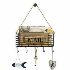 Sriwatana Rustic Mail Key Holder, Mail Organizer Wall Mount with 5 Hooks, Large