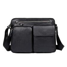 Men's Genuine Leather Messenger Crossbody Bag Small Sling Bags Black