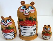 3pcs Hand Painted Russian Nesting Doll of Bears w/ Handcarved Ears